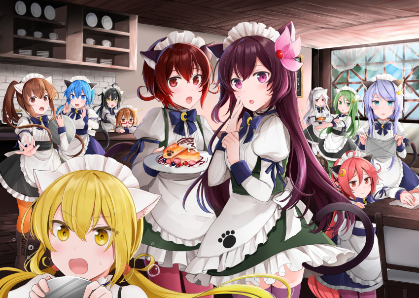 6+girls animal_ears apron bangs black_hair blonde_hair blue_eyes blue_hair blue_neckwear boots bow bowtie brown_eyes brown_hair cat_ears cat_tail chair commentary_request crescent crescent_hair_ornament crescent_moon crescent_moon_pin eyebrows_visible_through_hair fumizuki_(kantai_collection) glasses green_eyes hair_between_eyes hair_ornament highres holding holding_cloth holding_plate indoors kantai_collection kikuzuki_(kantai_collection) kisaragi_(kantai_collection) long_hair long_sleeves looking_at_viewer low_twintails maid maid_apron maid_headdress mikazuki_(kantai_collection) minazuki_(kantai_collection) mochizuki_(kantai_collection) moon multiple_girls mutsuki_(kantai_collection) nagatsuki_(kantai_collection) open_mouth orange_legwear outstretched_arm paw_print pink_legwear plate red_eyes redhead satsuki_(kantai_collection) short_hair short_ponytail silver_hair swept_bangs table tail thigh-highs twintails uzuki_(kantai_collection) v-shaped_eyebrows violet_eyes window yayoi_(kantai_collection) yellow_eyes yunamaro