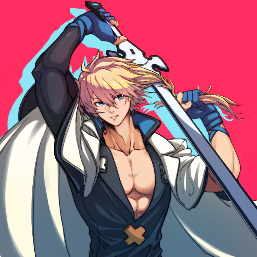 1boy abs blue_gloves coat cutting_hair gloves guilty_gear guilty_gear_strive highres holding holding_sword holding_weapon kuangren_k ky_kiske male_focus manly muscle overcoat partly_fingerless_gloves pectorals plunging_neckline short_hair skin_tight solo sword uniform weapon