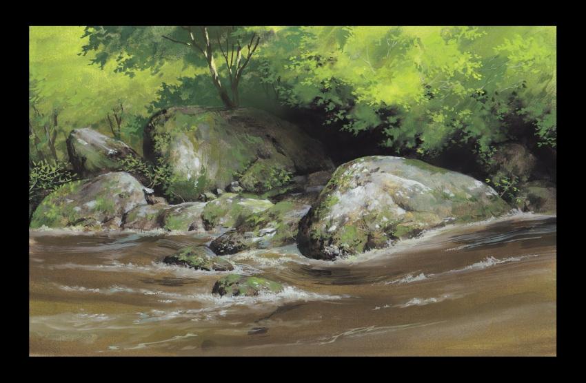 day derivative_work hosoi_mikio landscape moss no_humans outdoors river scenery stone studio_ghibli traditional_media tree watercolor_(medium)