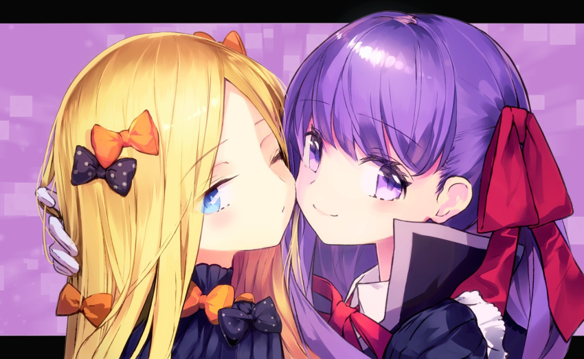 abigail_williams_(fate/grand_order) bangs bb_(fate)_(all) bb_(fate/extra_ccc) bbci black_bow black_coat black_dress blonde_hair blue_eyes blush bow breasts closed_mouth dress fate/extra fate/extra_ccc fate/grand_order fate_(series) forehead gloves hair_ribbon letterboxed long_hair long_sleeves looking_at_viewer multiple_bows neck_ribbon orange_bow parted_bangs polka_dot polka_dot_bow popped_collar purple_background purple_hair red_ribbon ribbed_dress ribbon smile very_long_hair violet_eyes white_gloves