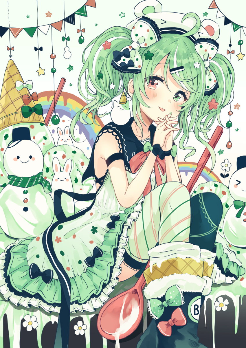 >_< 1girl absurdres ahoge animal animal_ears animal_hat bangs black_bow black_footwear black_legwear black_sailor_collar blush boots bow closed_mouth collarbone commentary_request diagonal_stripes dress eyebrows_visible_through_hair fake_animal_ears food frilled_dress frills gradient gradient_background green_background green_bow green_eyes green_hair green_scarf hair_between_eyes hair_bow hair_ornament hairclip hands_together hands_up hat highres ice_cream ice_cream_cone interlocked_fingers long_hair mismatched_legwear multicolored_hair original own_hands_together pennant rabbit red_bow red_eyes sailor_collar sailor_dress sakura_oriko scarf sleeveless sleeveless_dress snowman solo spoon streaked_hair string_of_flags striped striped_legwear thigh-highs tongue tongue_out twintails white_background white_bow white_dress white_hair white_headwear white_legwear
