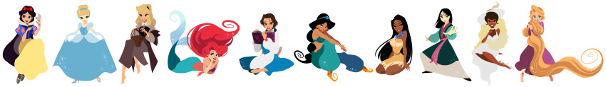 6+girls absurdly_long_hair absurdres aladdin_(disney) animal apron arabian_clothes ariel_(disney) arm_support aurora_(disney) barefoot basket beauty_and_the_beast belle_(disney) bikini bikini_top bird bird_on_finger black_cape black_eyes black_footwear black_hair black_hairband blonde_hair blue_dress blue_eyes blue_hairband blue_ribbon book braid breasts brown_eyes brown_hair cape chinese_clothes choker cinderella cinderella_(disney) cocktail_dress collared_dress commentary_request company_connection curly_hair dark_skin disney dress earrings elbow_gloves eyebrows_visible_through_hair eyelashes fa_mulan_(disney) fighting_stance fingers_together floating_hair full_body gloves green_eyes grey_dress grey_footwear hair_bun hair_ribbon hairband half-closed_eyes hand_on_own_cheek hand_on_own_chest hand_on_own_face hat high_heels highres holding holding_basket holding_book indian_style jasmine_(disney) jewelry juliet_sleeves knee_up legs_apart lineup lips long_dress long_hair long_image long_sleeves looking_at_viewer low_ponytail mermaid monster_girl mulan multiple_girls no_nose open_book open_mouth outstretched_arms pocahontas pocahontas_(disney) princess puffy_short_sleeves puffy_sleeves purple_bikini_top purple_dress rapunzel_(disney) red_lips red_ribbon redhead ribbon round_teeth shell shell_bikini short_hair short_sleeves simple_background sitting skirt_hold sleeping_beauty sleeveless sleeveless_dress small_breasts snow_white_(disney) snow_white_and_the_seven_dwarfs sparkle standing straight_hair strapless swimsuit tangled teeth the_little_mermaid the_princess_and_the_frog tiana_(the_princess_and_the_frog) tiara tied_hair tiptoes tubetop u-min upper_teeth very_dark_skin very_long_hair very_short_hair waist_apron white_background white_choker white_dress white_footwear white_headwear wide_image yellow_dress yellow_footwear