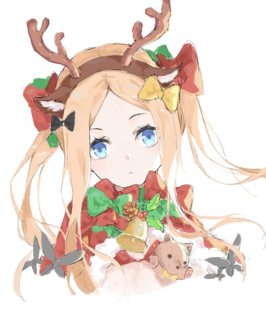 1girl abigail_williams_(fate/grand_order) animal_ear_fluff animal_ears antlers bangs black_bow blonde_hair blue_eyes bow brown_hairband commentary english_commentary fake_animal_ears fake_antlers fate/grand_order fate_(series) forehead hair_bow hairband highres long_hair looking_at_viewer nakor. parted_bangs parted_lips red_bow reindeer_antlers reindeer_ears sidelocks simple_background solo stuffed_animal stuffed_toy teddy_bear twintails upper_body white_background yellow_bow