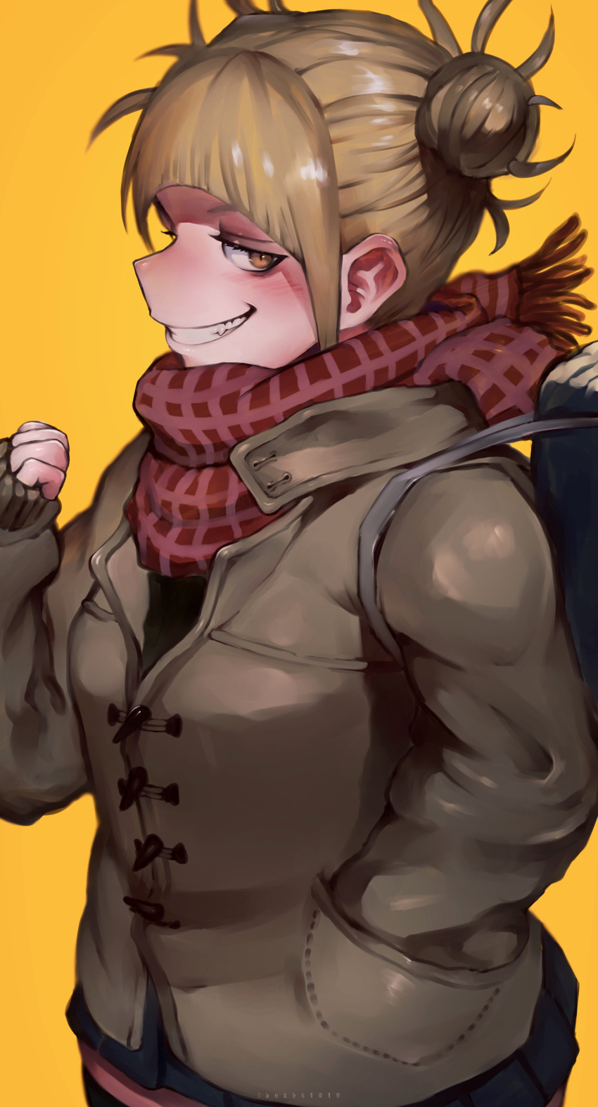 1girl absurdres bag bags_under_eyes bangs black_legwear blonde_hair blue_skirt boku_no_hero_academia clenched_hand coat densen_(itoguchi) double_bun evil_grin evil_smile fang grin hair_pulled_back hand_in_pocket highres looking_at_viewer messy_hair plaid plaid_scarf scarf short_hair skirt sleeves_past_wrists smile solo thigh-highs toga_himiko yellow_background yellow_eyes zettai_ryouiki
