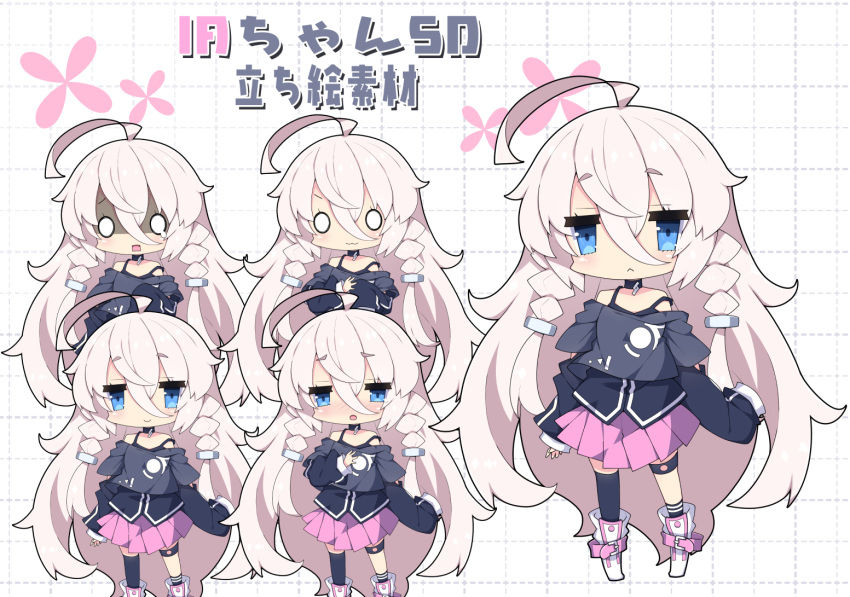 1girl :3 ahoge bangs bare_shoulders black_legwear black_shirt blue_eyes blush boots braid chibi closed_mouth commentary eyebrows_visible_through_hair hair_between_eyes hair_ornament ia_(vocaloid) long_hair long_sleeves milkpanda multiple_views nose_blush o_o open_mouth pink_hair pink_skirt pleated_skirt shaded_face shirt single_sock single_thighhigh skirt sleeves_past_fingers sleeves_past_wrists smile socks standing strap_slip teardrop thigh-highs translated twin_braids very_long_hair vocaloid white_footwear
