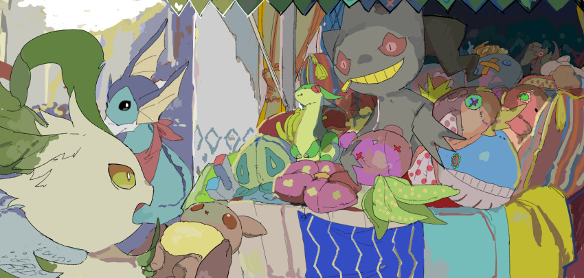 3others apios1 banette black_eyes blonde_hair buneary button_eyes colorful curtains cushion doll drifblim eevee flygon head_fins highres leafeon looking_back magikarp market merchant multiple_others no_humans oddish open_mouth patches pillow pokemon red_eyes road scenery sketch smile stall stitches street stuffed_animal stuffed_toy vaporeon vileplume wailmer yellow_eyes zipper