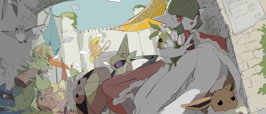 aegislash alolan_raichu animal animal_on_head apios1 blue_flag bouquet buneary cape carrying_over_shoulder castle crown decay dutch_angle eevee flag flower fur-trimmed_cape fur_trim highres holding holding_bouquet mega_gardevoir mini_crown moss multiple_others natu no_humans on_head open_mouth over_shoulder pidove pokemon red_cape riolu sketch smile stone_wall sunkern tower tyranitar wall whimsicott white_flower