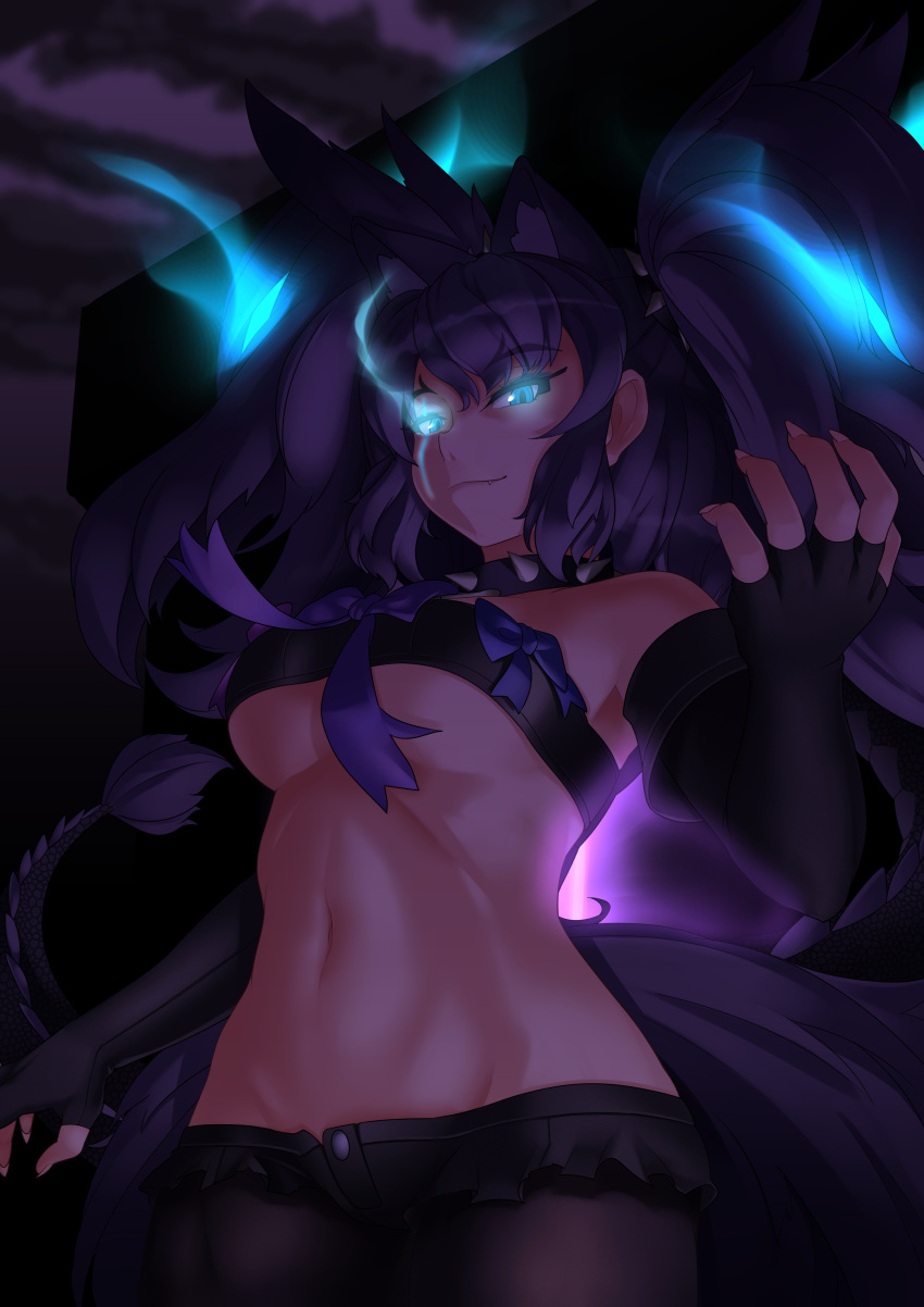 1girl absurdres animal_ears aqua_eyes arm_at_side bare_shoulders beltbra big_hair black_gloves black_legwear black_shorts bow breasts buttons cerberus_(kemono_friends) closed_mouth collar cowboy_shot cutoffs dark dog_ears elbow_gloves eyebrows_visible_through_hair fang fang_out fingerless_gloves fingernails gloves glowing glowing_eyes glowing_hair groin hand_up highres kawanami_eito kemono_friends legwear_under_shorts long_hair looking_at_viewer medium_breasts micro_shorts navel pantyhose purple_hair scar scar_across_eye sharp_fingernails shorts sidelocks smile solo spiked_collar spikes stomach tail toned two_side_up under_boob