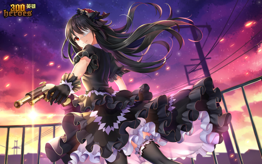 1girl 300_heroes black_dress black_gloves black_hair black_legwear closed_mouth date_a_live dress eyepatch gloves gothic_lolita gun hair_ornament holding holding_gun holding_weapon lolita_fashion long_hair looking_at_viewer red_eyes smile solo symbol-shaped_pupils thigh-highs tokisaki_kurumi weapon yue_xiao_e