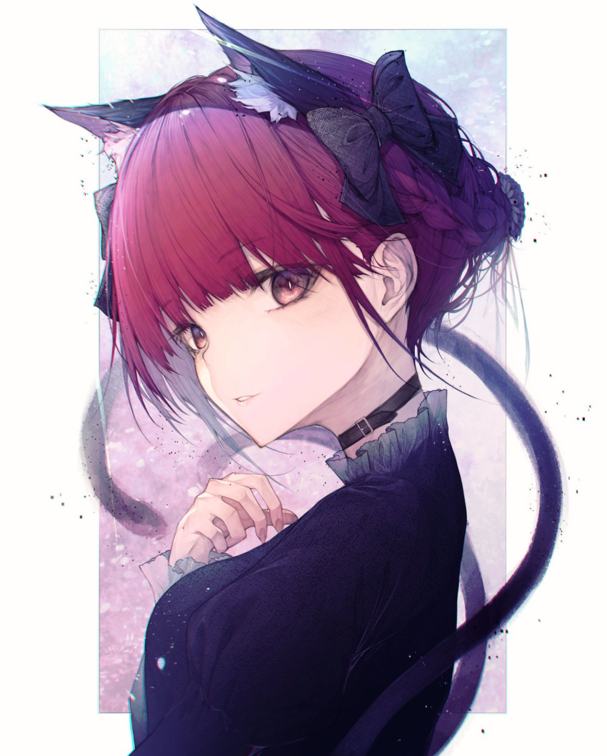 1girl animal_ears bangs bare_shoulders black_bow black_dress blush bow braid breasts cat_ears choker collar collarbone collared_shirt dress extra_ears eyebrows_visible_through_hair frilled_dress frilled_sleeves frills hair_bow hair_ornament hand_up highres hito_komoru kaenbyou_rin long_sleeves looking_at_viewer medium_hair multiple_tails nekomata red_eyes red_nails redhead shirt simple_background small_breasts smile solo tail touhou twin_braids two_tails upper_body