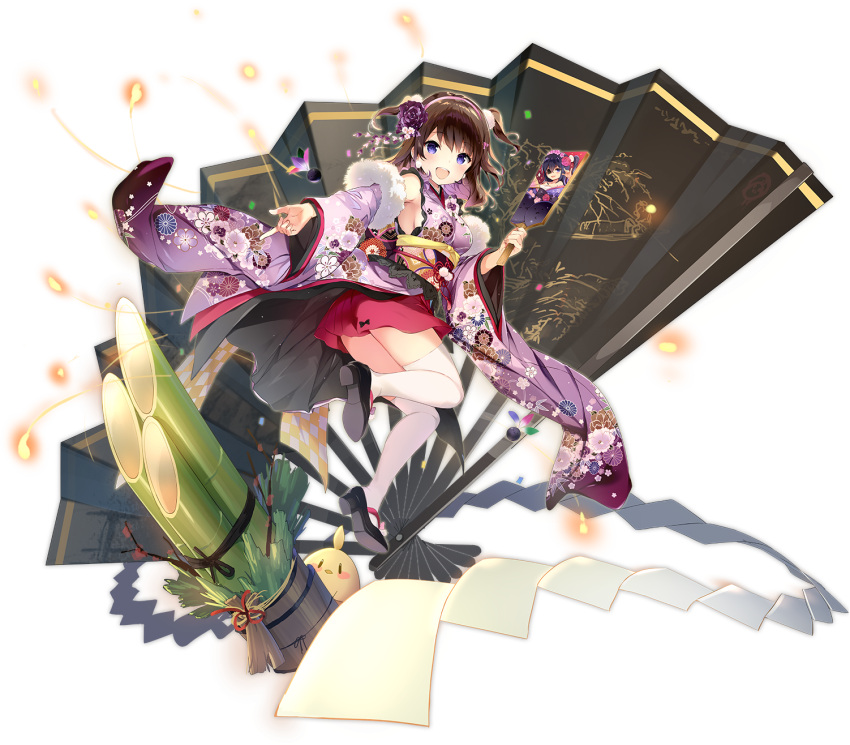 1girl :d alternate_costume armpits azur_lane bamboo bird blush breasts brown_hair chick detached_sleeves fan floral_print flower folding_fan fur_trim hagoita hair_flower hair_ornament highres holding japanese_clothes kimono long_sleeves looking_at_viewer manjuu_(azur_lane) medium_breasts new_year obi official_art open_mouth outstretched_arm paddle purple_kimono red_skirt rose sakura_koharu sandals sash shide skirt smile solo thigh-highs transparent_background two_side_up violet_eyes white_legwear wide_sleeves z35_(azur_lane) z35_(projekt_kirschblute)_(azur_lane) z36_(azur_lane) zettai_ryouiki