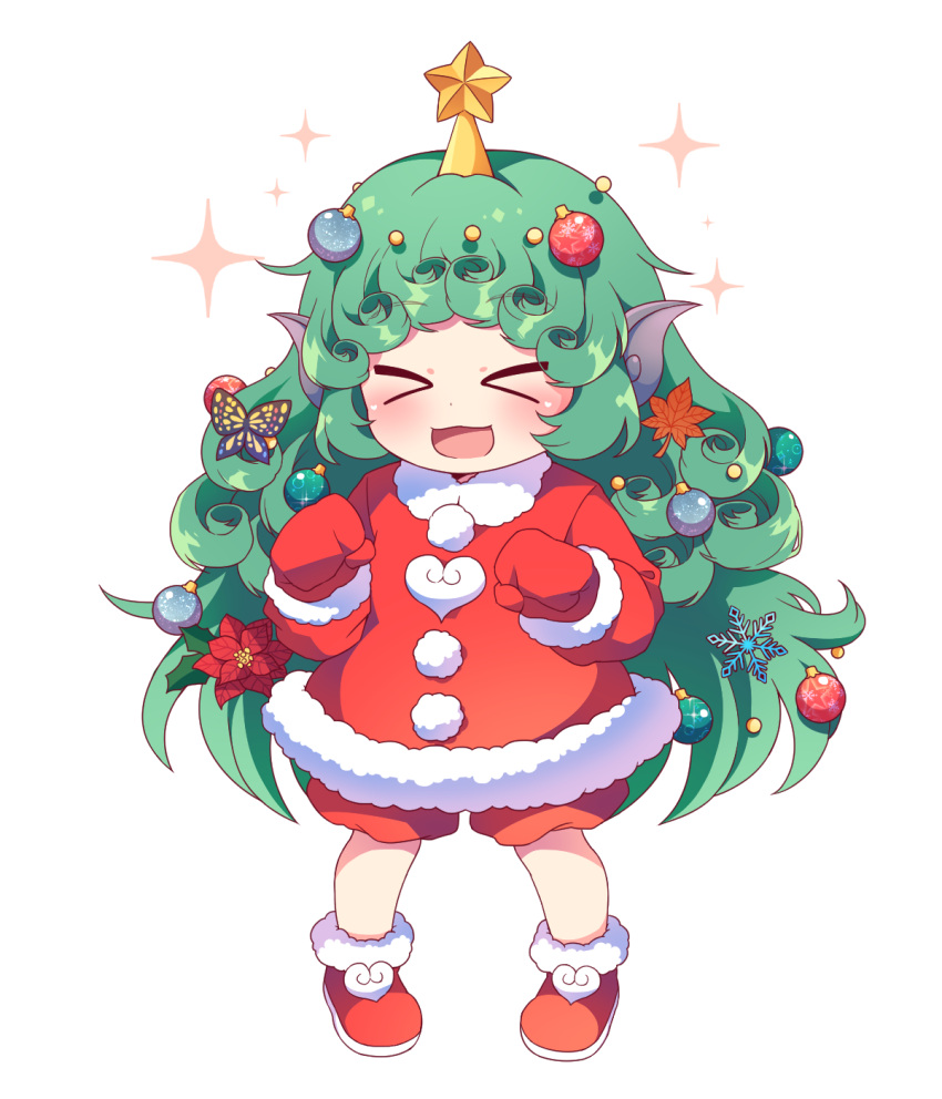 >_< 1girl :d adapted_costume bangs blush boots butterfly_hair_ornament caramell0501 christmas_ornaments closed_eyes commentary_request eyebrows_visible_through_hair facing_viewer flower full_body fur-trimmed_boots fur-trimmed_jacket fur-trimmed_sleeves fur_trim gloves green_hair hair_flower hair_ornament highres jacket komano_aun leaf_hair_ornament long_hair long_sleeves open_mouth pom_pom_(clothes) red_flower red_footwear red_gloves red_jacket red_mittens red_shorts shorts simple_background smile snowflake_hair_ornament solo sparkle standing star touhou very_long_hair white_background