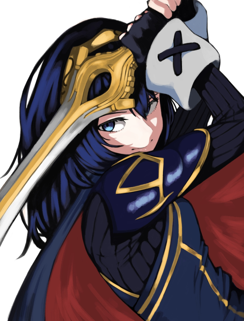 1girl armor arms_up blue_bodysuit blue_cape blue_eyes blue_hair blue_shirt bodysuit breasts cape chorogon closed_mouth commentary_request dutch_angle eyelashes falchion_(fire_emblem) fingerless_gloves fire_emblem fire_emblem_awakening gloves gold_trim hair_between_eyes highres holding holding_weapon long_sleeves looking_at_viewer lucina_(fire_emblem) medium_hair red_cape shirt shoulder_armor simple_background small_breasts solo sword upper_body weapon white_background wrist_cuffs