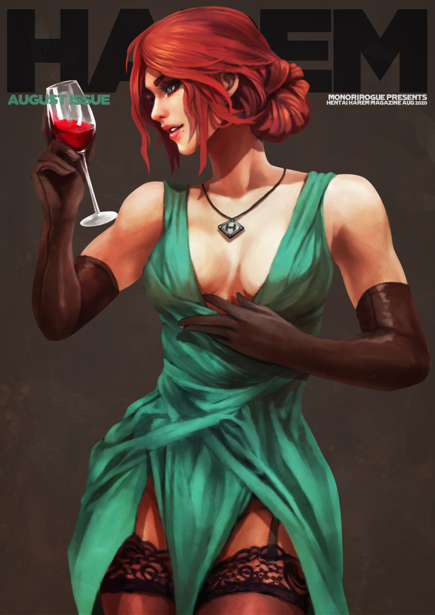 1girl absurdres alcohol black_gloves breasts cleavage_reach contemporary cover cup dress drinking_glass elbow_gloves english_text eyeshadow fake_magazine_cover freckles garter_straps gloves green_dress green_eyes hair_bun highres jewelry lace lace-trimmed_legwear lipstick magazine_cover makeup medium_breasts mole mole_under_eye monori_rogue no_bra parted_lips pelvic_curtain pendant plunging_neckline redhead sheer_legwear short_hair solo the_witcher the_witcher_3 thick_eyebrows thigh-highs triss_merigold updo wine wine_glass