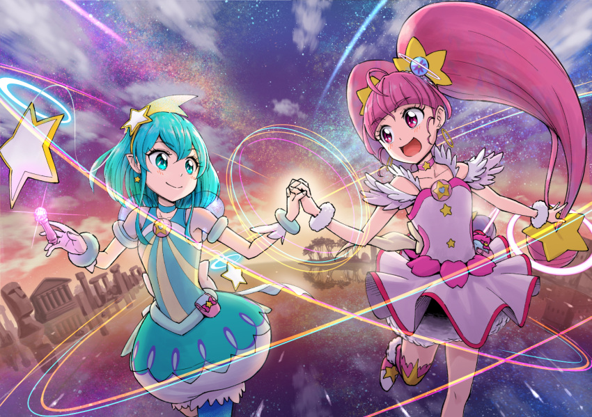 2girls :d back_bow blue_eyes blue_hair blue_legwear blue_neckwear bow bubble_skirt choker closed_mouth collarbone cowboy_shot cure_milky cure_star dress earrings hagoromo_lala hair_ornament hairband holding_hands hoshina_hikaru ito_user_2810a jewelry long_hair looking_at_another magical_girl moai multiple_girls open_mouth petticoat pink_dress pink_eyes pink_hair pink_legwear pink_neckwear pointy_ears precure puffy_sleeves ruins see-through_sleeves short_hair single_leg_pantyhose single_thighhigh skirt smile star star_choker star_earrings star_hair_ornament star_twinkle_precure thigh-highs tree twintails white_bow wrist_cuffs yellow_hairband