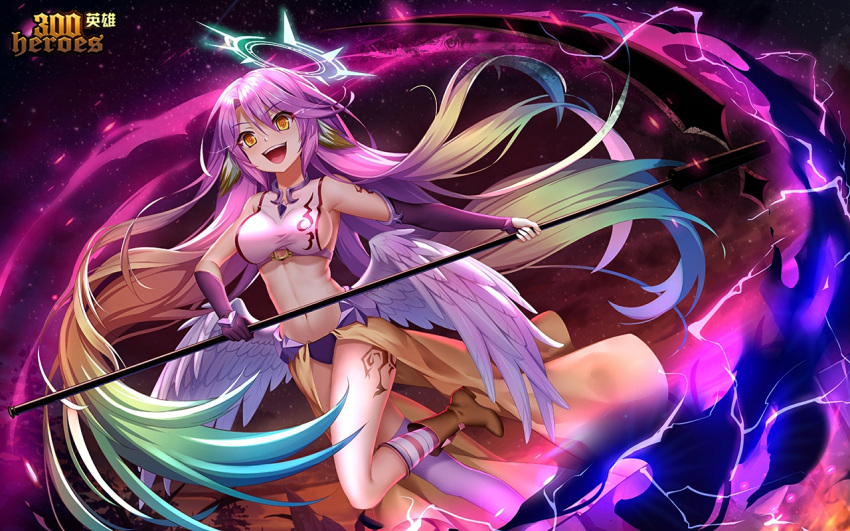 1girl 300_heroes angel_wings breasts bridal_gauntlets crop_top evil_smile feathered_wings gloves gradient_hair halo holding holding_scythe holding_weapon jibril_(no_game_no_life) large_breasts long_hair low_wings magic_circle midriff mismatched_legwear multicolored multicolored_eyes multicolored_hair navel no_game_no_life open_mouth orange_eyes pink_hair scythe sideboob smile solo tattoo very_long_hair weapon white_wings wing_ears wings yellow_eyes yue_xiao_e