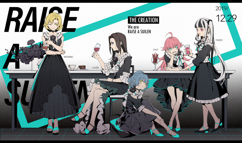 5girls ;) ahoge asahi_rokka bang_dream! bangs black_dress black_footwear black_hair blonde_hair blue_eyes blue_footwear blue_hair bracelet chair character_name chin_rest choker chu2_(bang_dream!) cup dated dress elbows_on_table flower food frilled_dress frilled_shirt_collar frilled_sleeves frills green_eyes group_name high_heels holding holding_cup jerky jewelry layer_(bang_dream!) letterboxed long_sleeves masking_(bang_dream!) mizuya multicolored_hair multiple_girls no_bangs one_eye_closed pareo_(bang_dream!) plate pleated_dress ponytail raise_a_suilen red_eyes redhead ribbon sandals short_hair sidelocks sitting smile standing table twintails two-tone_hair white_hair yellow_eyes