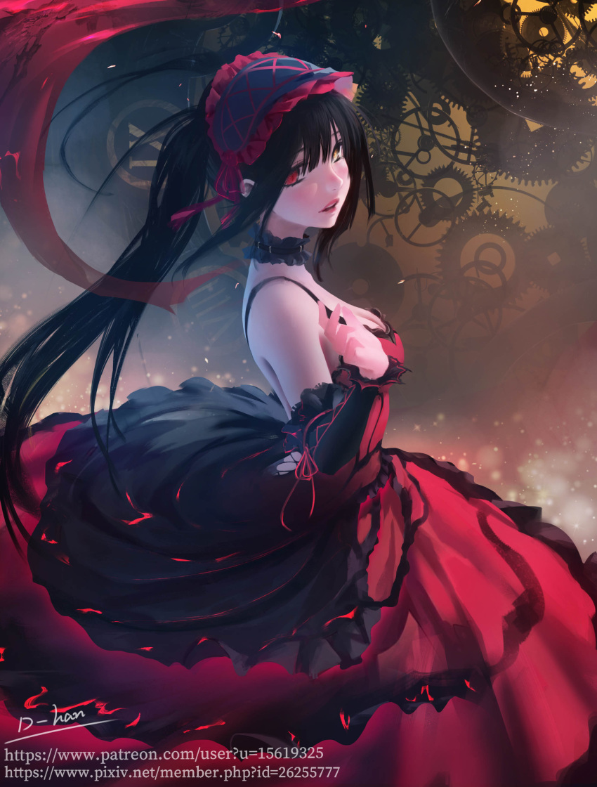 1girl absurdres artist_name black_hair blush breasts choker d-han date_a_live detached_sleeves from_side gears hairband heterochromia highres lace lace_choker lolita_fashion lolita_hairband long_hair low-cut medium_breasts parted_lips red_eyes roman_numerals solo teeth twintails watermark web_address yellow_eyes