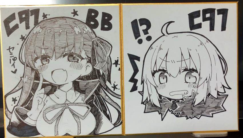 !? /\/\/\ 2girls :d ahoge bangs bb_(fate)_(all) bb_(fate/extra_ccc) blush breasts collared_shirt eyebrows_visible_through_hair fang fate/apocrypha fate/extra fate/extra_ccc fate_(series) fur_collar gloves greyscale hair_between_eyes hand_up highres jacket jako_(jakoo21) jeanne_d'arc_(alter)_(fate) jeanne_d'arc_(fate)_(all) large_breasts long_hair long_sleeves looking_at_viewer monochrome multiple_girls neck_ribbon open_clothes open_jacket open_mouth ribbon shirt smile star traditional_media translation_request upper_body