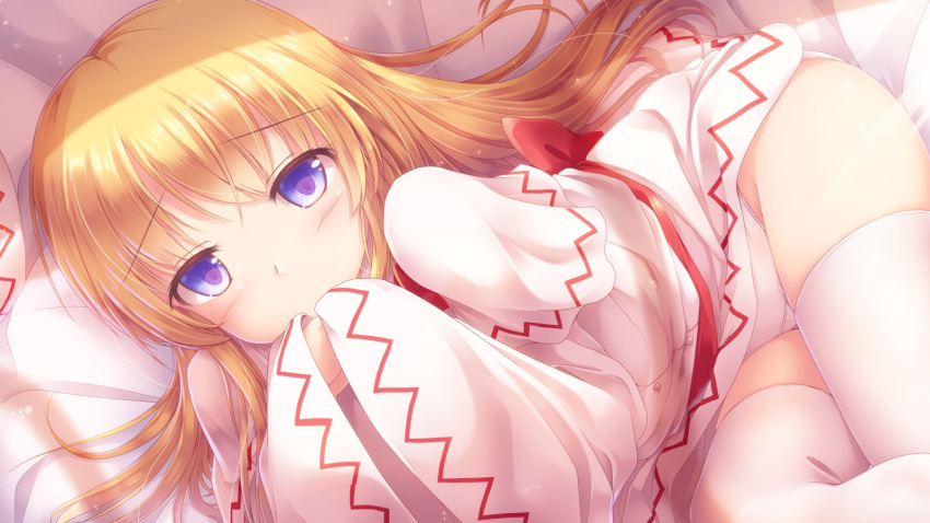 1girl blonde_hair blue_eyes blush capelet commentary_request covering_mouth crossed_legs dress eyebrows_visible_through_hair hands_in_opposite_sleeves hat hat_removed headwear_removed highres lily_white long_hair long_sleeves looking_at_viewer lying lzh on_bed on_side panties sash solo tareme thigh-highs touhou underwear very_long_hair white_dress white_legwear white_panties wide_sleeves