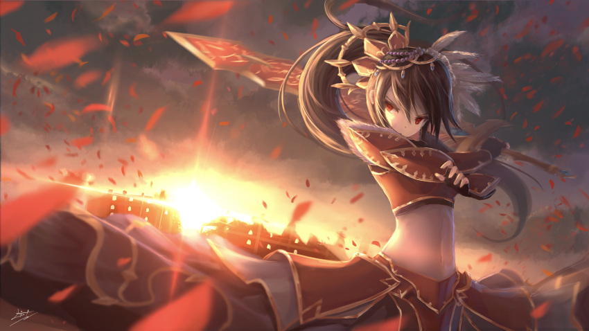 1girl absurdres armor beads black_gloves black_hair brave_frontier breastplate crop_top diffraction_spikes faulds feathers fingerless_gloves gauntlets gloves gold_trim hair_ornament highres holding holding_sword holding_weapon huge_filesize leaf leaves_in_wind litkung long_hair long_skirt looking_at_viewer midriff navel ponytail red_eyes seria signature skirt solo stomach sun sunlight sword upper_body weapon