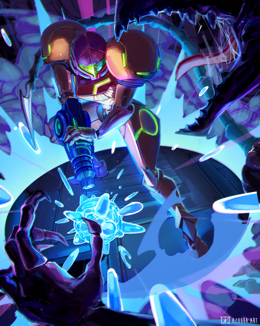 1girl 1other absurdres alien arm_cannon azoura battle energy_ball fangs helmet highres metroid open_mouth power_armor ridley saliva samus_aran size_difference solo_focus spiked_tail tail tongue variations weapon
