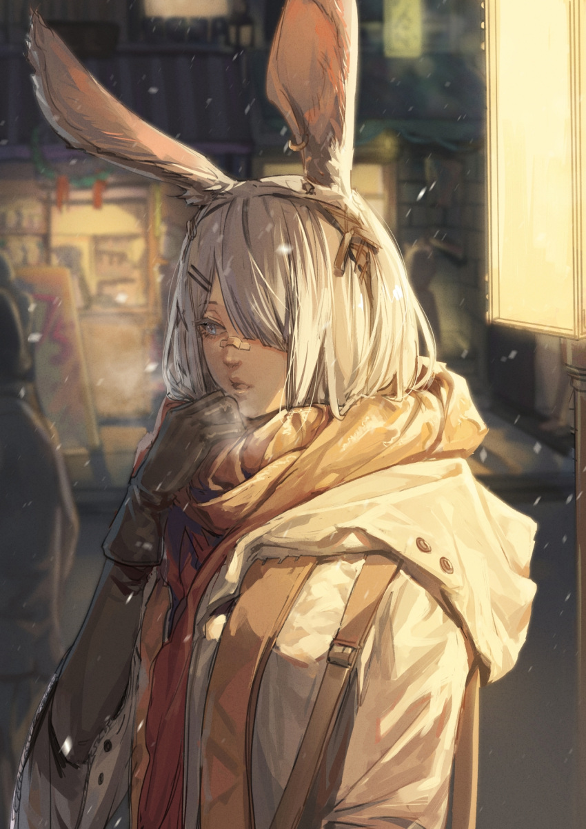 1girl animal_ears arknights bandaid bandaid_on_nose banner black_gloves blurry blurry_background breath breathing_on_hands character_request coat enpera gloves grey_hair hair_ornament hair_over_one_eye hairclip highres hood hood_down lamppost looking_away night one_eye_covered outdoors scarf shenji_laurant snowing solo storefront upper_body warming_hands winter yellow_scarf