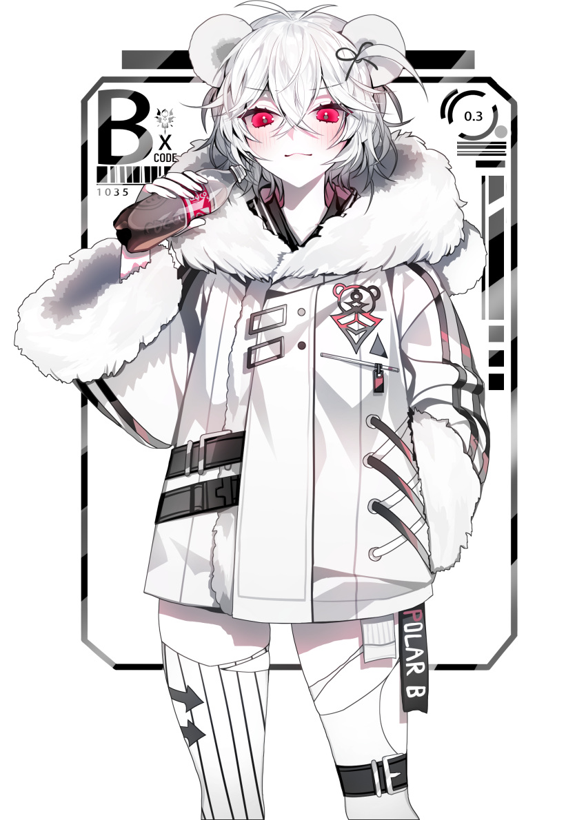 1girl :3 absurdres androgynous animal_ears animal_print antenna_hair barcode bear_ears bear_girl bear_print belt black_ribbon bottle closed_mouth coat coca-cola cross-laced_clothes directional_arrow english_commentary feet_out_of_frame fur-trimmed_coat fur_trim hair_between_eyes hair_ribbon hand_in_pocket highres holding holding_bottle leg_belt long_sleeves looking_at_viewer mismatched_legwear modanyang number one_side_up original personification red_eyes ribbon short_hair smile smug solo striped striped_legwear thigh-highs torn_clothes torn_legwear vertical-striped_legwear vertical_stripes white_background white_coat white_hair