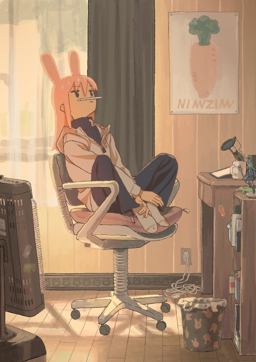 animal_ears animal_print bunny_print carrot cup curtains desk figure highres holding_feet hood hoodie long_hair long_sleeves mug nerio_(neri_akira) original pants pencil pink_hair poster_(object) rabbit_ears sitting socks sticker swivel_chair thinking trash_can wooden_floor