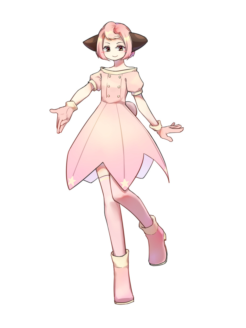 1girl animal_ears blush brown_eyes cleffa dress full_body gloves highres looking_at_viewer personification pink_dress pink_footwear pink_gloves pink_legwear pokemon short_hair short_sleeves simple_background smile solo standing standing_on_one_leg sunuo_de_justwe_zidong_shou_huoji thigh-highs white_background