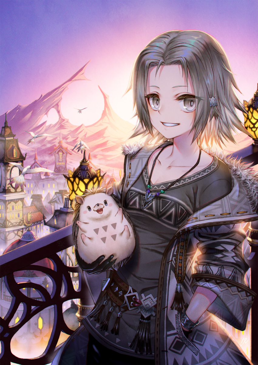 1girl :d animal bird black_gloves black_shirt cityscape clock clock_tower gloves grey_eyes grey_hair hair_ornament hand_in_pocket hedgehog highres holding holding_animal jewelry lamppost necklace nengajou new_year open_mouth original parted_lips railing seagull shirt sho_(sumika) smile standing sunrise tower weather_vane