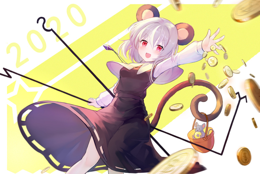 1girl 2020 :d animal_ears arm_up bangs black_skirt black_vest blush boku_koyuki_mx breasts capelet chinese_commentary coin commentary_request dowsing_rod eyebrows_visible_through_hair feet_out_of_frame grey_capelet grey_hair hair_between_eyes highres holding jewelry long_sleeves looking_at_viewer mouse_ears nazrin open_mouth pendant red_eyes shirt short_hair skirt skirt_set small_breasts smile solo standing touhou two-tone_background vest white_background white_shirt yellow_background