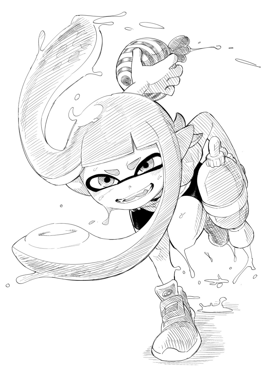 1girl action bangs bike_shorts black_shorts blunt_bangs commentary domino_mask fangs greyscale highres inkling long_hair looking_at_viewer mask monochrome paint_splatter pointy_ears shiromanta shoes shorts single_vertical_stripe sneakers solo splat_bomb_(splatoon) splatoon_(series) splatoon_1 splattershot_(splatoon) squidbeak_splatoon suction_cups super_soaker tentacle_hair thick_eyebrows
