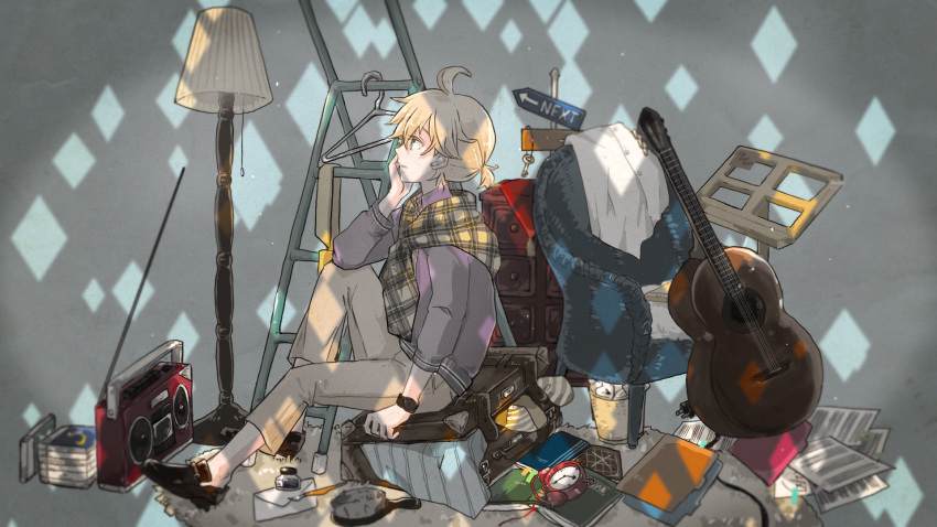 1boy acoustic_guitar ahoge alarm_clock blonde_hair blue_eyes book brush cabinet cable clock clothes_hanger commentary crumpled_paper diamond_(shape) envelope folder from_side guitar hand_on_own_cheek highres ink_bottle ink_pen instrument kagamine_len key knee_up lamp light looking_up male_focus mary_janes music_stand necktie pants parted_lips plaid plaid_scarf purple_shirt radio radio_antenna rug sakanashi scarf sheet_music shirt shoes short_hair short_ponytail signpost sitting suitcase thinking trash_can vocaloid watch watch wide_shot yellow_neckwear