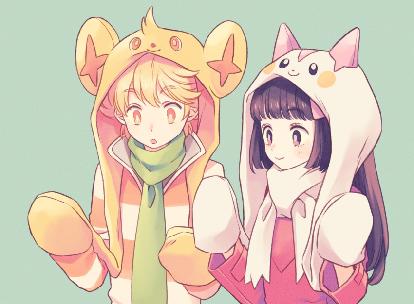 1boy 1girl :o alternate_color animal_hood bangs black_hair blonde_hair blunt_bangs closed_mouth cosplay green_background green_scarf headwear_with_attached_mittens hikari_(pokemon) hime_cut hood jun_(pokemon) komasawa_(fmn-ppp) long_hair long_sleeves looking_at_hands mittens orange_eyes pachirisu pachirisu_(cosplay) pokemon pokemon_(game) pokemon_dppt scarf shinx shinx_(cosplay) shiny_pokemon shirt sidelocks simple_background smile striped striped_shirt surprised up upper_body white_mittens white_scarf winter_clothes yellow_headwear yellow_mittens