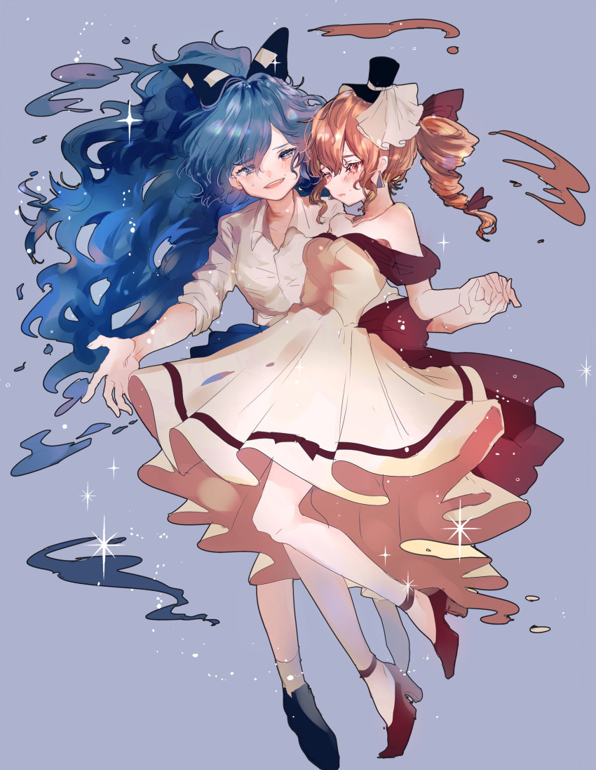 2girls :o absurdres alternate_costume bangs bare_shoulders beige_dress black_footwear black_headwear blue_background blue_bow blue_eyes blue_hair blue_skirt blush bow breasts brown_eyes brown_hair collarbone commentary_request debt dress drill_hair earrings full_body hair_between_eyes hair_bow hair_ribbon hat high_heels highres holding_hands jewelry long_hair looking_at_another medium_breasts mini_hat mini_top_hat multiple_girls off-shoulder_dress off_shoulder open_mouth pendant purple_ribbon red_footwear ribbon shirt shoes short_hair siblings simple_background sisters skirt sleeves_rolled_up smile socks sparkle suzune_hapinesu swept_bangs top_hat touhou twintails veil very_long_hair white_legwear white_shirt yorigami_jo'on yorigami_shion