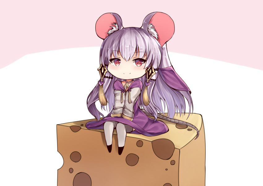 1girl animal_ear_fluff animal_ears bangs blush cheese choker closed_mouth commentary_request dress eyebrows_visible_through_hair fire_emblem fire_emblem:_three_houses food full_body grey_legwear long_hair long_sleeves looking_at_viewer lysithea_von_ordelia minigirl mouse_ears mouse_girl mouse_tail purple_choker purple_dress red_eyes se-u-ra silver_hair sitting smile solo tail tassel thigh-highs two-tone_background veil very_long_hair