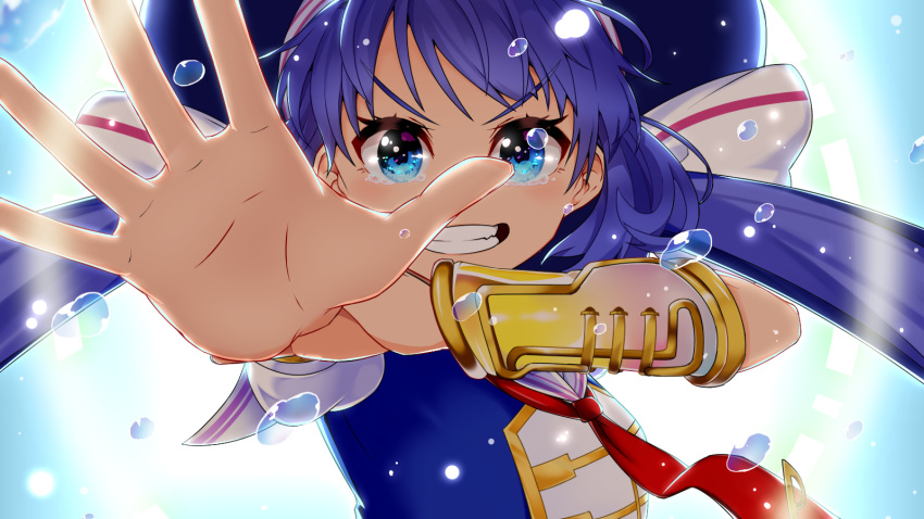 1girl aiming_at_viewer amatsuya armband backlighting blue_eyes blue_hair blue_shirt collar commentary eel_hat foreshortening gold_trim grin highres holding_own_arm long_hair looking_at_viewer necktie otomachi_una outstretched_arm outstretched_hand red_neckwear sailor_collar shirt smile solo tears twintails upper_body v-shaped_eyebrows very_long_hair vocaloid water_drop white_collar
