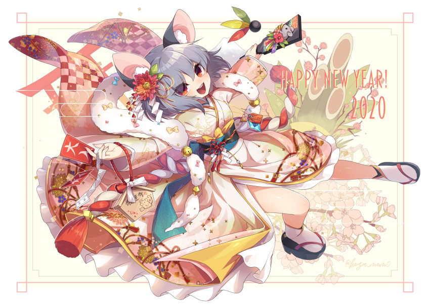 1girl 2020 absurdres alternate_costume animal_ears bamboo bangs beige_kimono bell between_fingers blue_bow border bow cherry_blossoms chinese_zodiac floral_print flower full_body fur_collar grey_hair hair_flower hair_ornament hair_ribbon happy_new_year highres holding japanese_clothes jingle_bell kimono kouhaku_nawa kozakura_(dictionary) layered_clothing leaf leaf_hair_ornament long_sleeves mouse mouse_ears mouse_print nazrin new_year obi open_mouth orange_eyes pink_flower red_eyes ribbon rope sash shide shimenawa short_hair signature solo tabi tassel torii touhou white_legwear wide_sleeves year_of_the_rat yellow_bow