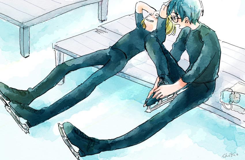 2boys bench black_hair blonde_hair brown_eyes green_eyes grin ice_skates ichi_74 katsuki_yuuri male_focus multiple_boys pants shirt sitting skates smile t-shirt track_pants yuri!!!_on_ice yuri_plisetsky