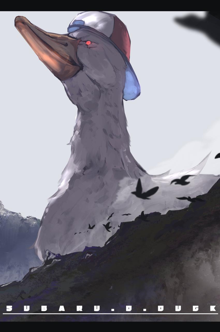 absurdres angry animal backwards_hat beak bird character_name duck flying hat highres hololive mountain no_humans oozora_subaru oozora_subaru_(duck) outdoors oversized_animal red_eyes sky tsumeki virtual_youtuber what white_sky