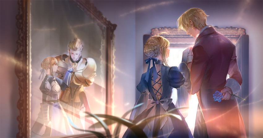 1boy 1girl adapted_costume arm_behind_back armor armored_dress artoria_pendragon_(all) back_bow bangs blonde_hair blue_dress blue_flower blue_ribbon blue_rose blurry bow braid braided_bun breastplate closed_eyes coat commentary_request cowboy_shot cross-laced_clothes depth_of_field different_reflection door dress earrings embroidery fate_(series) faulds flower from_behind gauntlets gilgamesh hair_bun hair_over_eyes hair_ribbon hair_slicked_back height_difference highres holding_hand indoors jewelry juliet_sleeves leaning_forward light long_sleeves looking_at_another lorein mirror pauldrons plant profile puffy_sleeves reflection ribbon rose saber side-by-side sidelocks smile standing wall white_bow wide_sleeves