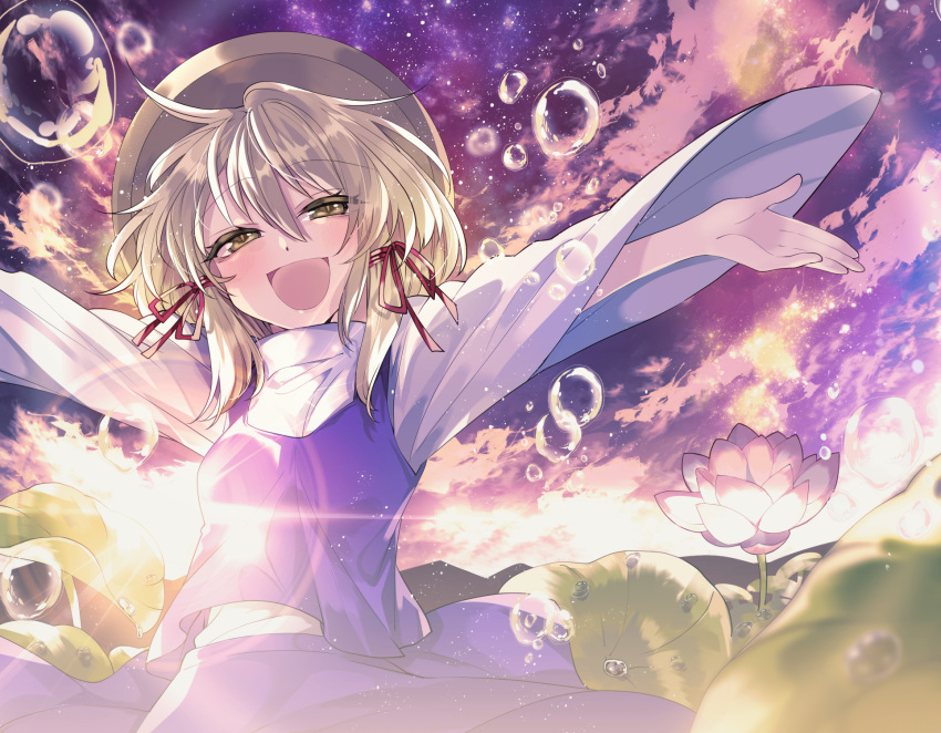 1girl bangs blonde_hair blush clouds commentary_request eyebrows_visible_through_hair flower hair_ribbon hat highres katayama_kei lens_flare lily_pad long_sleeves moriya_suwako open_mouth outdoors outstretched_arms purple_skirt purple_vest red_ribbon ribbon shirt skirt sky smile solo sun touhou tress_ribbon turtleneck vest water_drop white_shirt yellow_eyes