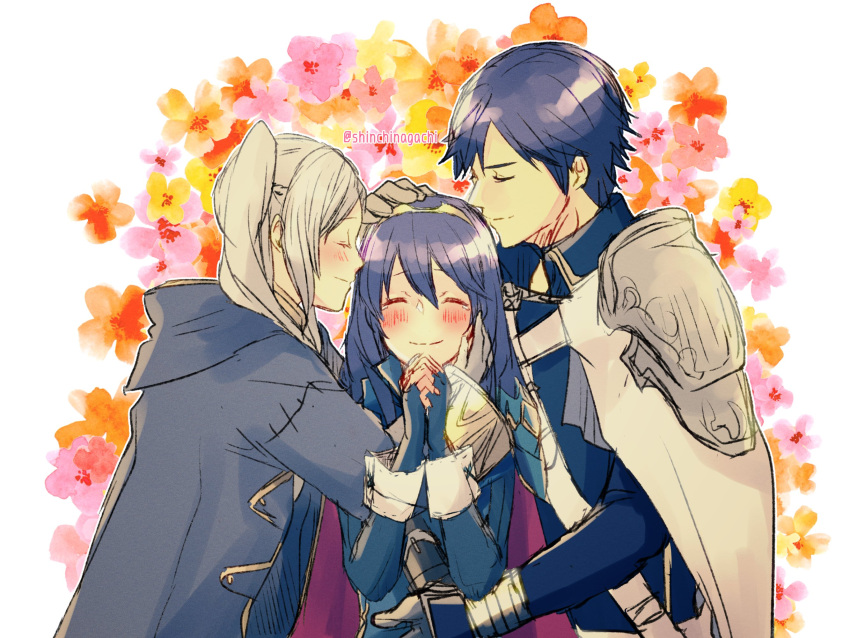 blue_hair blush cape chrom_(fire_emblem) closed_eyes family father_and_daughter fingerless_gloves fire_emblem fire_emblem_awakening gloves group_hug hand_on_another's_head happy highres hug lucina lucina_(fire_emblem) mother_and_daughter nishimura_(nianiamu) robin_(fire_emblem) robin_(fire_emblem)_(female) shoulder_armor silver_hair smile tiara upper_body