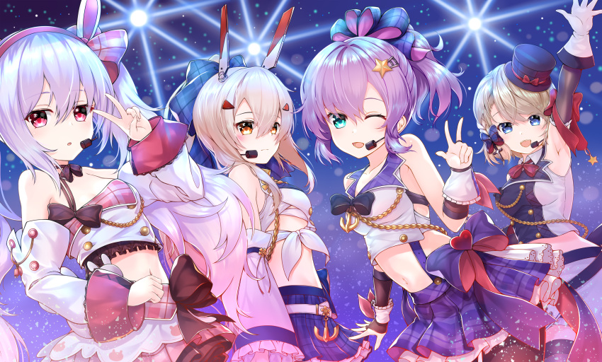4girls ;d aiguillette anchor animal_ears arm_up armpit_crease armpits ayanami_(azur_lane) ayanami_(troubled_star_idol)_(azur_lane) azur_lane bangs belt black_bow black_legwear blonde_hair blue_eyes blue_skirt blush bow braid breasts bridal_gauntlets brown_sleeves choker closed_mouth collarbone collared_shirt commentary_request crop_top detached_sleeves double-breasted eyebrows_visible_through_hair fake_animal_ears frilled_sleeves frills gloves green_eyes hair_between_eyes hair_bow hair_ornament hairband hajikaji hat headgear headset high_ponytail highres idol iron_cross javelin_(aspiring_new_idol)_(azur_lane) javelin_(azur_lane) laffey_(azur_lane) laffey_(halfhearted_bunny_idol)_(azur_lane) lapel light light_brown_hair light_particles light_rays medium_breasts midriff mini_hat multiple_girls navel one_eye_closed open_mouth orange_eyes pantyhose parted_lips pink_skirt plaid plaid_bow plaid_hat plaid_skirt pleated_skirt ponytail purple_bow purple_hair purple_skirt rabbit_ears red_bow red_eyes red_hairband sarashi shirt short_hair side_braid sidelocks single_strap skirt sleeveless sleeveless_shirt small_breasts smile stage_lights star star_hair_ornament suspender_skirt suspenders swept_bangs thigh-highs tilted_headwear twintails v white_belt white_gloves white_hair white_sleeves wrist_bow z23_(azur_lane) z23_(serious_idol_-_is_she_also_the_manager!?)_(azur_lane) zettai_ryouiki