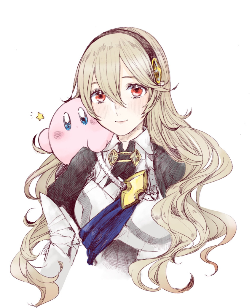 1girl 1other armor armored_dress ballpoint_pen_(medium) blue_eyes blush blush_stickers corrin_(fire_emblem) corrin_(fire_emblem)_(female) cute dragon_girl elf female_my_unit_(fire_emblem_if) fire_emblem fire_emblem_14 fire_emblem_fates fire_emblem_if grey_hair hair_between_eyes hairband hal_laboratory_inc. highres hoshi_no_kirby intelligent_systems kamui_(fire_emblem) kirby kirby_(series) lips long_hair looking_at_viewer manakete my_unit_(fire_emblem_if) nintendo pink_puff_ball red_eyes roroichi simple_background smile sora_(company) star super_smash_bros. traditional_media upper_body white_background