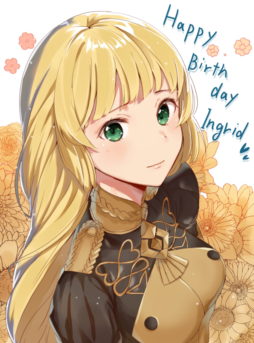 1girl blonde_hair character_name closed_mouth epaulettes fire_emblem fire_emblem:_three_houses flower garreg_mach_monastery_uniform green_eyes happy_birthday haru_(nakajou-28) highres ingrid_brandl_galatea long_hair solo uniform upper_body