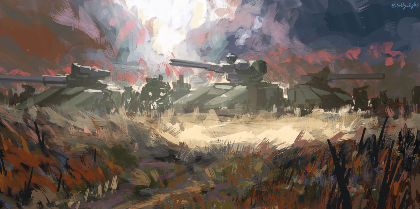 6+others artist_name chinese_commentary clouds cloudy_sky commentary_request cyclops_(girls_frontline) dark_sky fantasia_var girls_frontline grass grasslands ground_vehicle highres hydra_(girls_frontline) kcco_(girls_frontline) military military_vehicle motor_vehicle multiple_others no_humans robot sky tank