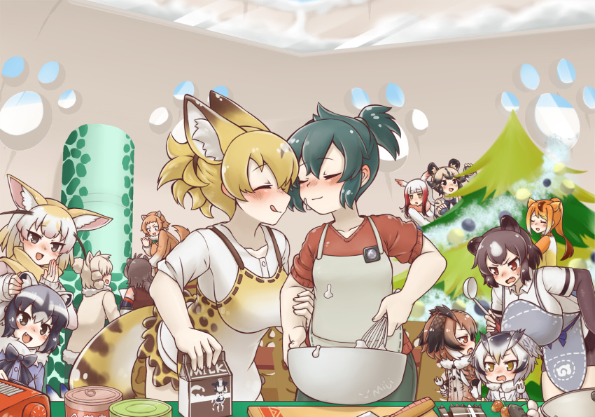 6+girls african_wild_dog_(kemono_friends) alpaca_ears alpaca_suri_(kemono_friends) alternate_costume american_beaver_(kemono_friends) animal_ear_fluff animal_ears apron artist_name baking bear_ears beaver_ears black-tailed_prairie_dog_(kemono_friends) black_hair blonde_hair blush bodystocking bow bowtie brown_bear_(kemono_friends) brown_coat brown_eyes chinese_commentary christmas_tree coat commentary_request common_raccoon_(kemono_friends) couple dog_ears drooling eurasian_eagle_owl_(kemono_friends) extra_eyes eyebrows_visible_through_hair facing_another fang fennec_(kemono_friends) food food_on_face fork fox_ears fur_collar golden_snub-nosed_monkey_(kemono_friends) grey_coat grey_eyes grey_hair hair_between_eyes hair_bun head_wings height_difference high_ponytail highres holding holding_fork holding_knife indoors japanese_crested_ibis_(kemono_friends) kaban_(kemono_friends) kemono_friends knife leaning_forward licking_lips light_brown_hair long_hair long_sleeves looking_at_another lucky_beast_(kemono_friends) medium_hair microskirt miji_doujing_daile monkey_ears multicolored_hair multiple_girls northern_white-faced_owl_(kemono_friends) open_mouth orange_hair owl_ears prairie_dog_ears raccoon_ears redhead scarf serval_(kemono_friends) serval_ears serval_tail shirt short_hair short_over_long_sleeves short_ponytail short_sleeve_sweater short_sleeves sidelocks skirt smile snow sweater tail tongue tongue_out two-tone_hair v-shaped_eyebrows white_hair window winter_clothes yellow_eyes yuri