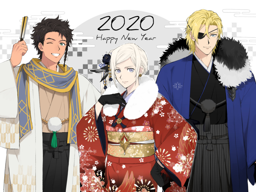 1girl 2020 2boys alternate_costume black_gloves blonde_hair blue_eyes brown_hair claude_von_riegan closed_mouth dimitri_alexandre_blaiddyd earrings edelgard_von_hresvelg eyepatch fire_emblem fire_emblem:_three_houses gloves green_eyes grin gunjo_fe hair_ornament happy_new_year japanese_clothes jewelry kimono long_sleeves multiple_boys new_year obi one_eye_closed sash short_hair smile violet_eyes white_hair wide_sleeves